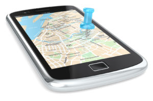 Black Smartphone with a GPS map. Blue Pushpin.