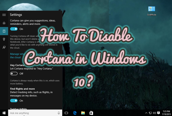 How To Disable Cortana in Windows 10?